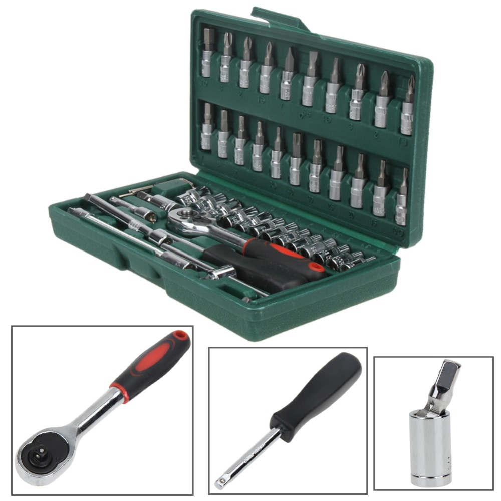 46pcs High-Carbon Steel Spanner Socket Set 1/4 Car Repair Tool Screw Driver Ratchet Wrench Set Tool Kits Household Tool Set free ship 44pcs set chrome vanadium steel amphibious socket wrench set spanner car ship machine repair service tools kit
