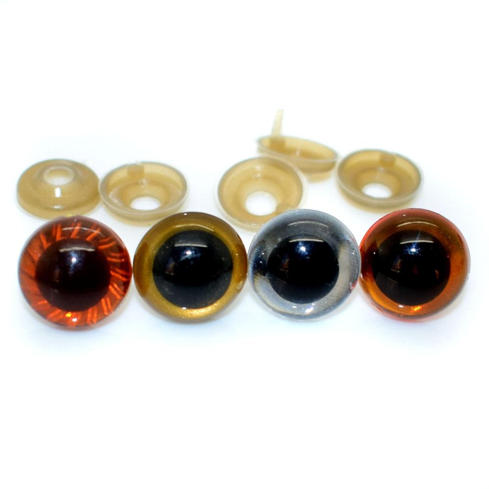 Пластиковые безопасные глаза, прозрачные золотистые и коричневые цвета, 40 шт., для кукол амигуруми или вязаных крючком кукол, для изготовления кукол животных