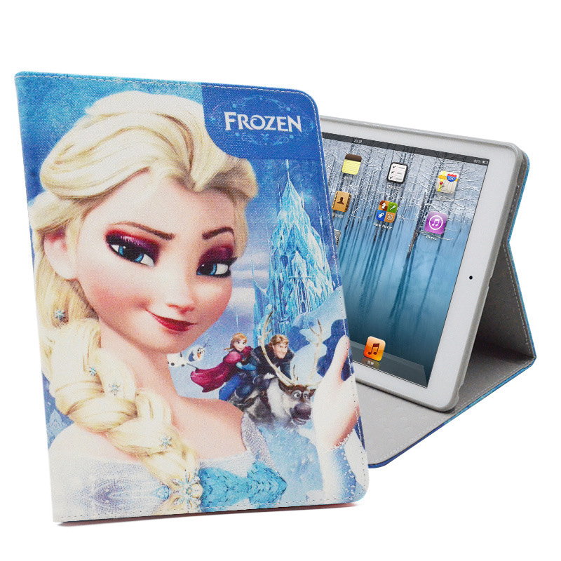 Frozen Painting for Funda iPad 4 Cover Case PU Leather + Silicon Back Cover Smart Case for iPad 2 iPad 3 Capa Para Gift for Kids