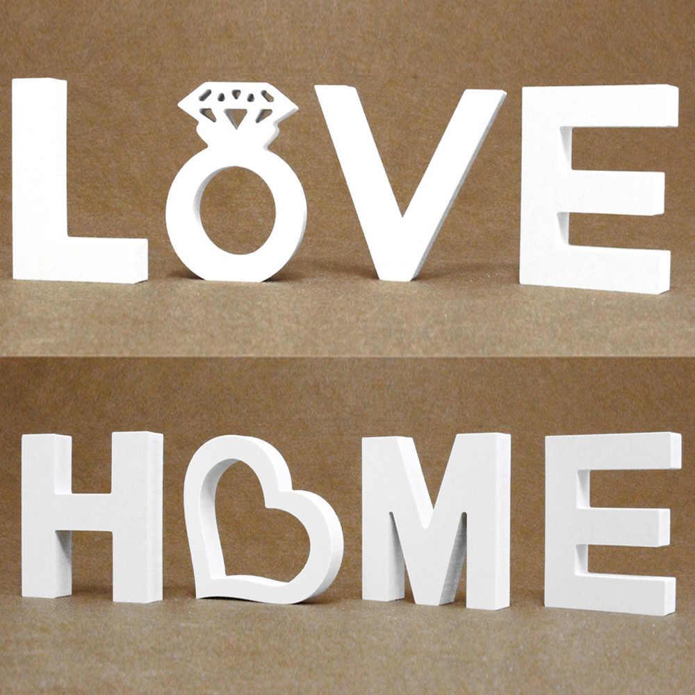 Diy سميكة 12 مللي متر الخشب خشبية خطابات أرقام الأبيض الأبجدية الزفاف عيد ميلاد حزب ديكور المنزل مشخصنة اسم تصميم