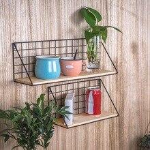 Decoración de pared, marco de hierro, estante colgante, caja de almacenamiento de exhibición de pared, cesta, alambre de malla multifunción, soporte de almacenamiento para estante de pared de Metal