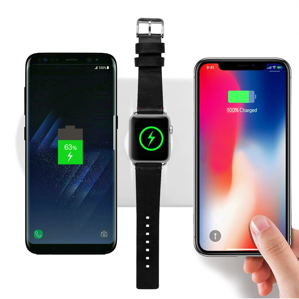 3 in 1 Wireless Charger For iPhone X 8 Plus Pad Fast Apple Watch 2 wireless for Samsung