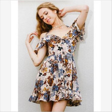 ФОТО 2018 summer floral print women chiffon  dress ruffle off shoulder spaghetti strap female tunic girl casual beach dresses