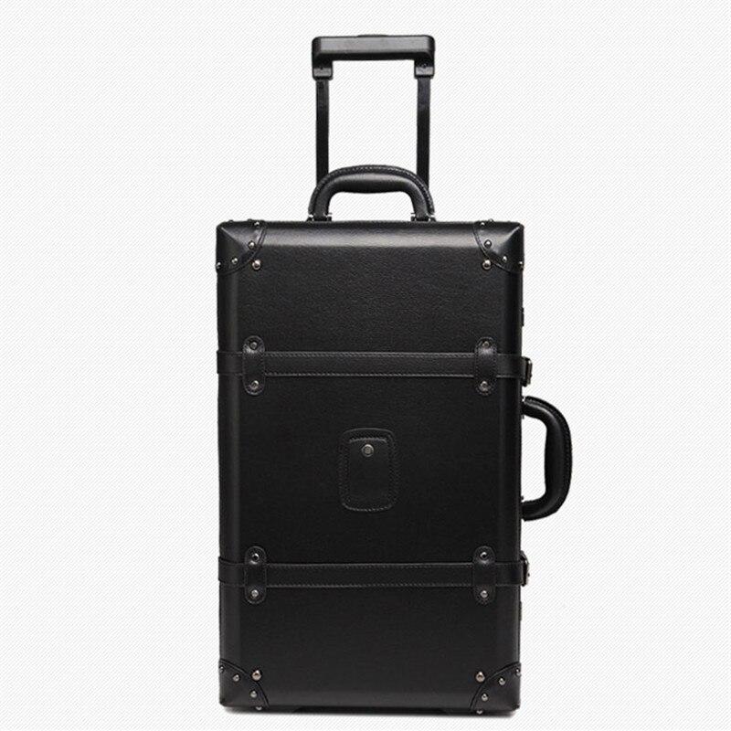 KUNDUI Nya Kvinnor PU Vintage Bagage Resväskor Väskor Universal - Väskor för bagage och resor - Foto 2
