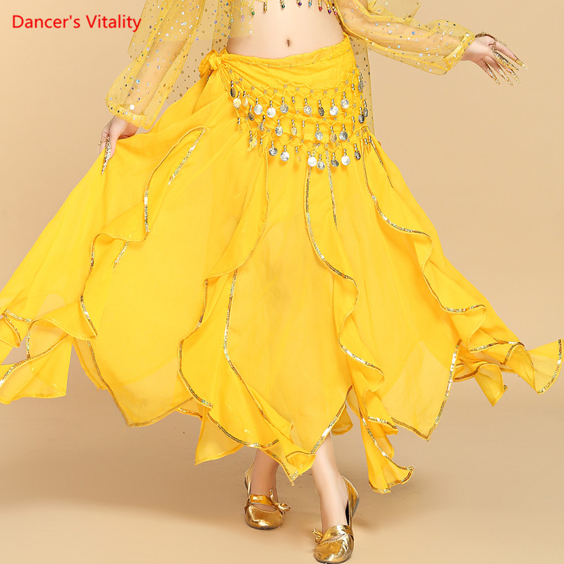 2018 New Cheap Women Belly Dance Skirt Woman Belly Dance Skirt  Adult Training Skirt Belly Dance Trousers Tribal Sequins Skirt