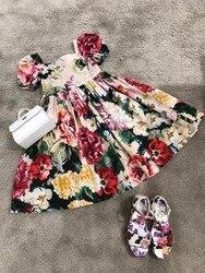 Платье с цветочным рисунком для маленьких девочек; Милое летнее платье для маленьких девочек; Детская одежда высокого качества