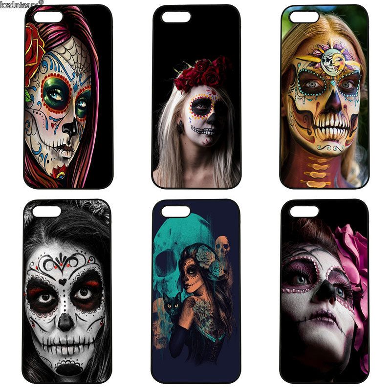 Flower Floral Sugar Skull Cell Phone Cases Hard Plastic Cover for iphone 8 7 6 6S Plus X 5S 5C 5 SE 4 4S iPod Touch 4 5 6 Shell
