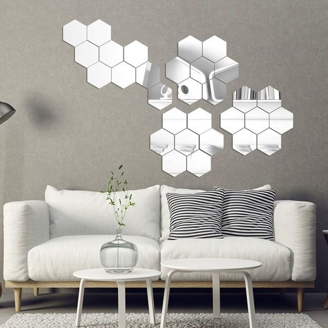 7 Piece Hexagon Acrylic Mirror DIY Art Wall Decor Wall Stickers