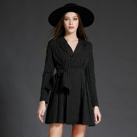 2017 Spring Fashion Women Mini Dress Notched Striped Slim Collect Waist A Word Dresses Black 6021
