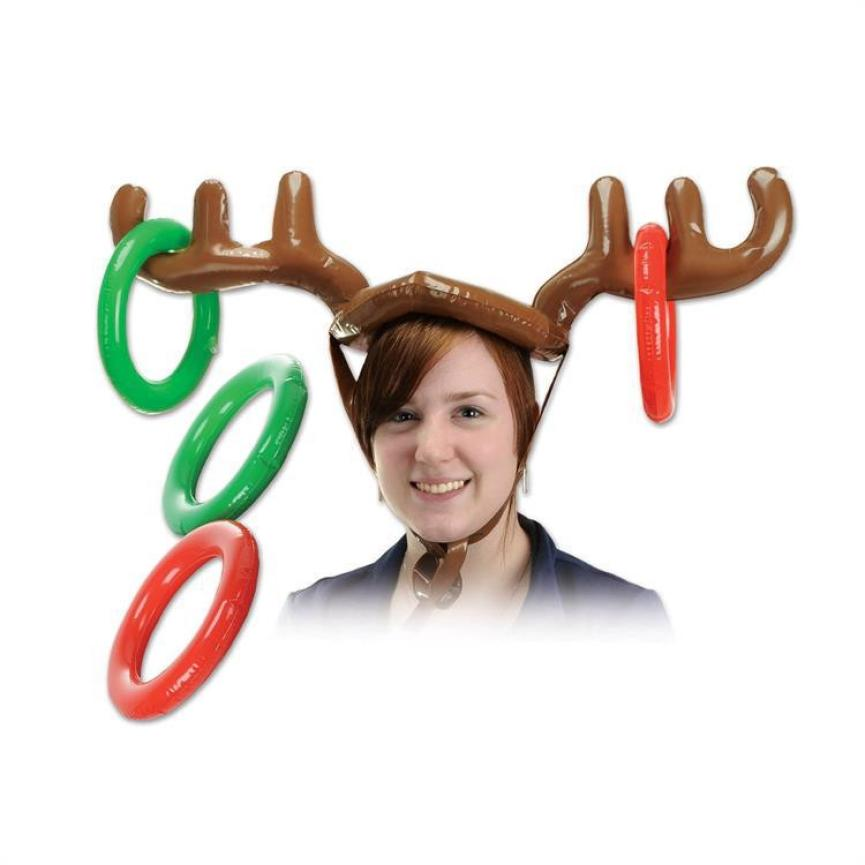 f7fb322a62454 Inflatable Reindeer Christmas Hat Antler Ring Toss Holiday Party Game Toys  Kids funny gift for children