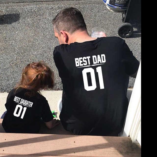 Papa und Mich Outfits Best Dad Beste Tochter 01 Vater und Tochter Shirts Baby Junge Kinder Look Sommer Kurzarm kleidung