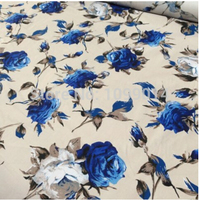 Handmade DIY Vintage European Style BLUE Rose Print Thin Satin Poplin