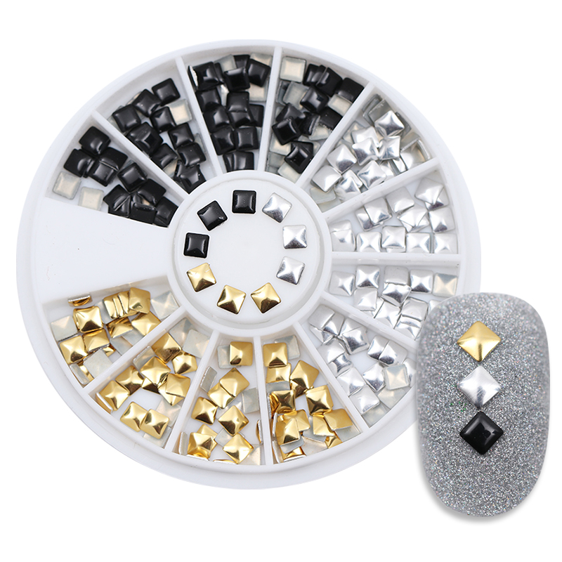 1 Box Square Rivet Nail Studs Flat Bottom Gold Silver Black Decoration In Wheel 3mm Manicure 3D Nail Art Decoration 1 box gold matte nail art rhinestone studs wheel 3d metal square triangle shaped nail decoration accessories
