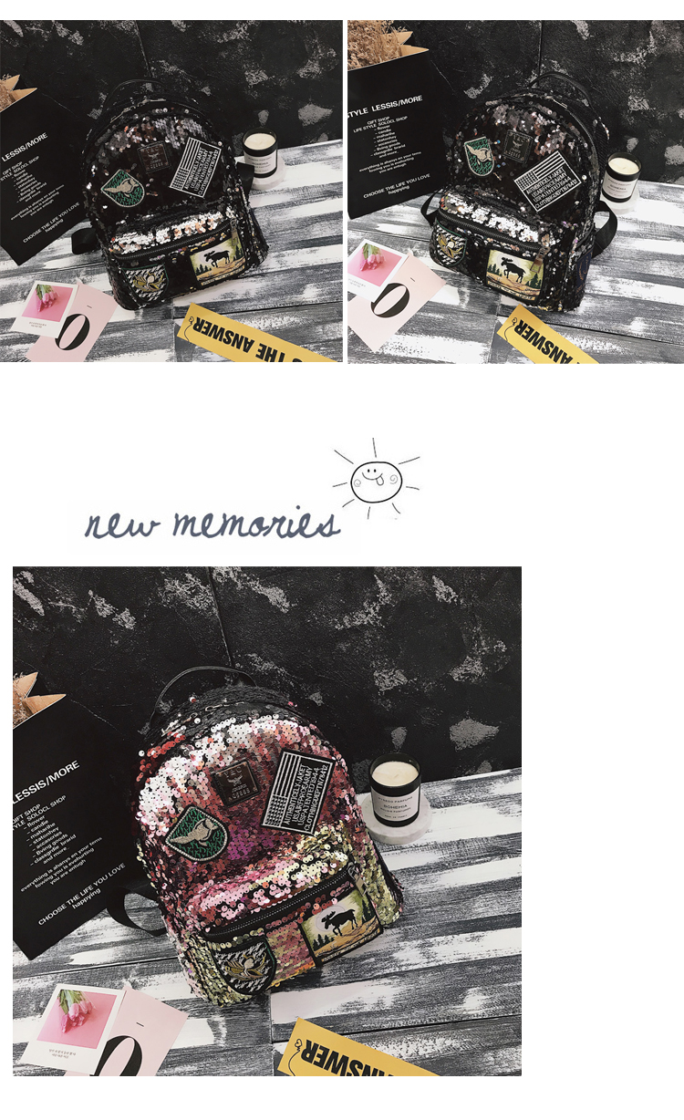 Sequin Backpack Korean version 2018 New Personality Badge Fashion Backpack Wild Casual 17