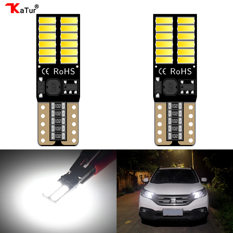Katur 2pcs Super Bright T10 W5W 2825 168 LED CanBus Error Free Front Side Marker Door Courtesy License Plate LED Light Bulbs