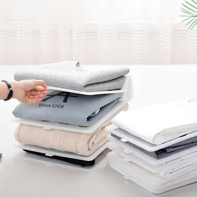 10 pçs/set Pano Dobrável Titulares De Armazenamento Simples Armário de Roupas Racks de Acabamento Casa Camisa Cueca Organizador Placa Artefato
