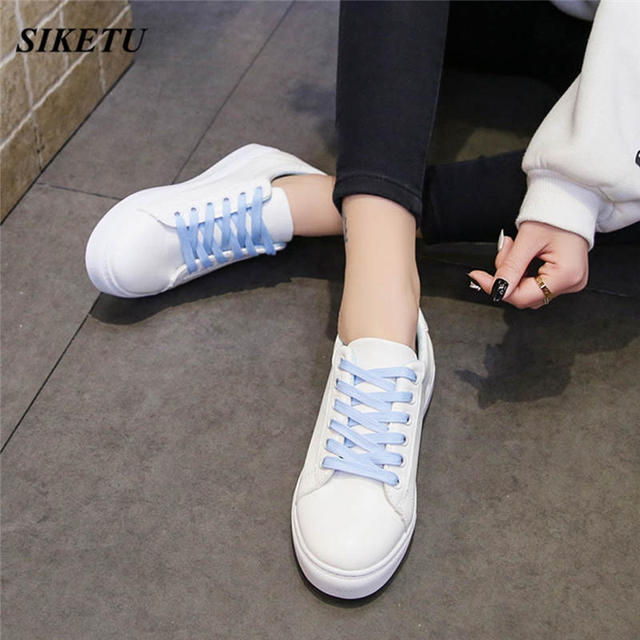 Women's Fashion Embroier Cartoon Cat Round Toe Flat White Sneakers Casual Shoes Simple Lace up Leather women Shoes modis L*5