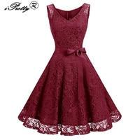 Lace Patchwork Women Vintage Dress Autumn Winter Sleeveless Pin Up Rockabilly Plus Size 3XL Retro Robe