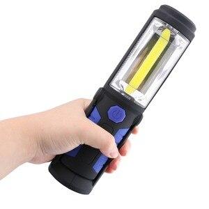 Image 2 - USB Rechargeable COB LED Flashlight COB light strip +1LED Torch Work Hand Lamp lantern Magnetic Waterproof Emergency LED Light
