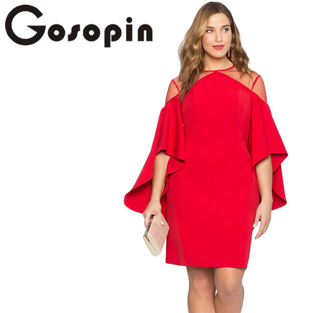 US $19.88 41% OFF|Gosopin Cold Shoulder Plus Size Dress Party Women Autumn  Elegant Dresses Black Three Quarter Sleeve Office Lady Dress LC220395-in ...