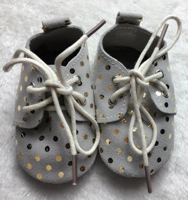 2017 Новый Натуральная Кожа Детские Мокасины Обувь горошек кружева до оксфорд обувь Детская Обувь девочек Новорожденных первый ходунки Детские обувь