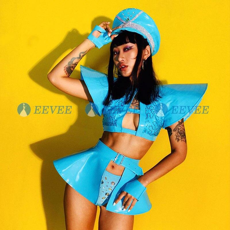 2019 nouveau Jazz danse Costumes femmes bleu strass Hip Hop discothèque Sexy Bar Dj femme chanteuse Costume chapeau scène tenue