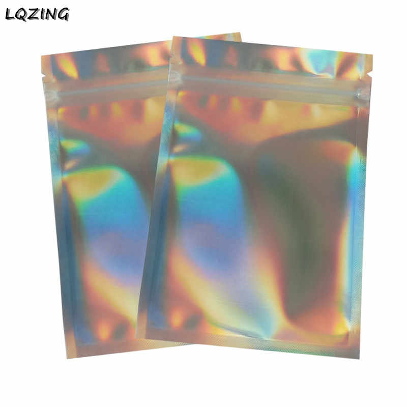 One Side Clear One Side Holographic Laser Silver Cosmetic Zipper Bag Leak Proof Thick Reusable Food Storage Zip Lock Pouch