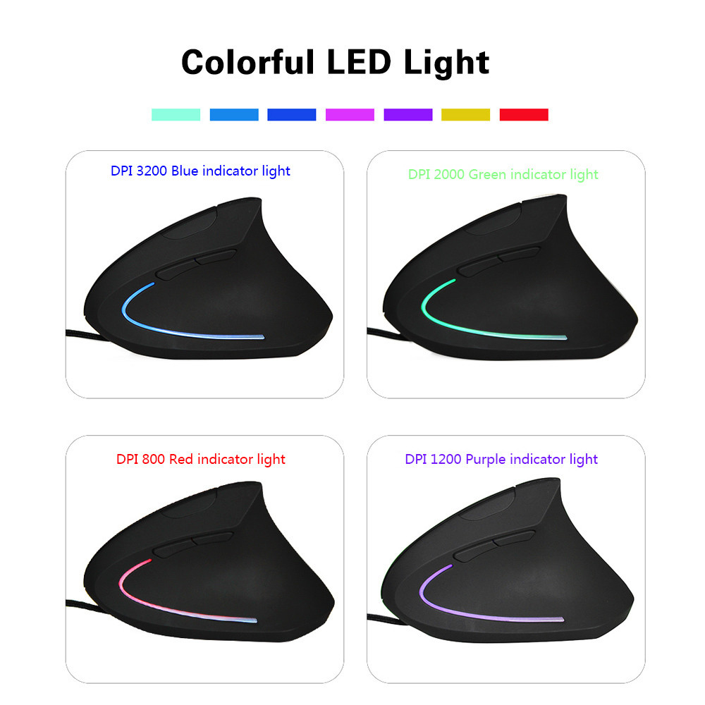 Vertical Mouse 800/1200/2000 3200 DPI Computer Wired Mause Wrist Rest Protection USB Optical Ergonomic Colorful LED Mice For PC