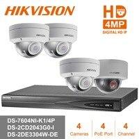 Hik 4CH HD POE NVR Kit 3pcs 4MP DS 2CD2143G0 I &DS 2DE3304W DE mini PTZ IP Camera CCTV Security System Surveillance Set