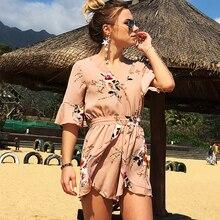 Floral Print Summer Jumpsuit V-neck Ruffled Short-sleeved Bohemian Seaside Holiday Beach Womens Printed Chiffon Shorts Pants F4