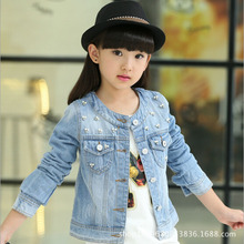 Girls outwear clothes Girls casual jeans jacket Kids cowboys Clothes Children's Fashion Long-sleeved Cotton girls shirt