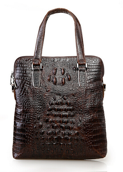 100% Genuine Leather Crocodile Business Casual Shoulder Bag Messenger Bag Men Crossbody Ipad Tablet PC Package Handbag Briefcase