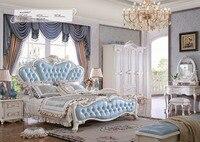 Muebles Para Casa модные прямые продажи король Античная без Пояса из натуральной кожи мягкая кровать Мебель для спальни 2016 Резная Кровать французс