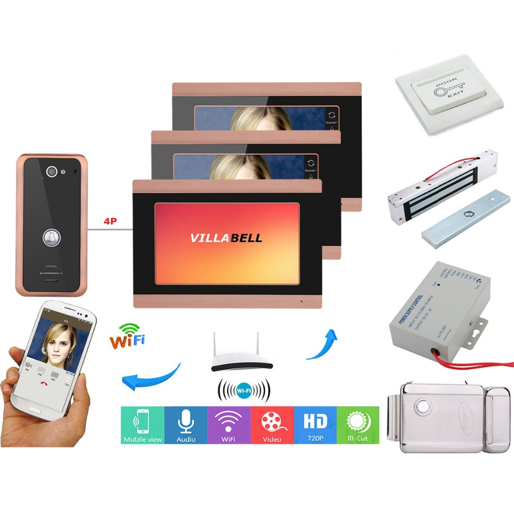 Home Set 7inch 3 Monitors Wired Wifi Video Door Phone Doorbell Intercom Entry System Wired Camera Night Vision+Electric Lock