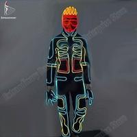 Halloween LED Suits Light Up Dance Wear DJ Dance Luminous Talent Show Mask Top Pants Gloves Shoes 7pcs Party Costumes Men/ Wome