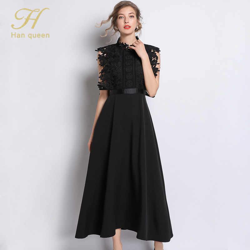 H Han reine été dentelle robe femmes sans manches o-cou travail décontracté fête Slim Sexy noir longues robes Vintage robes