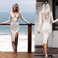 New Sexy Women Dress Hollow Out Vestidos Long Sleeve Deep V-Neck Ladies Dresses Plus Size Women Clothing White Pencil Dress