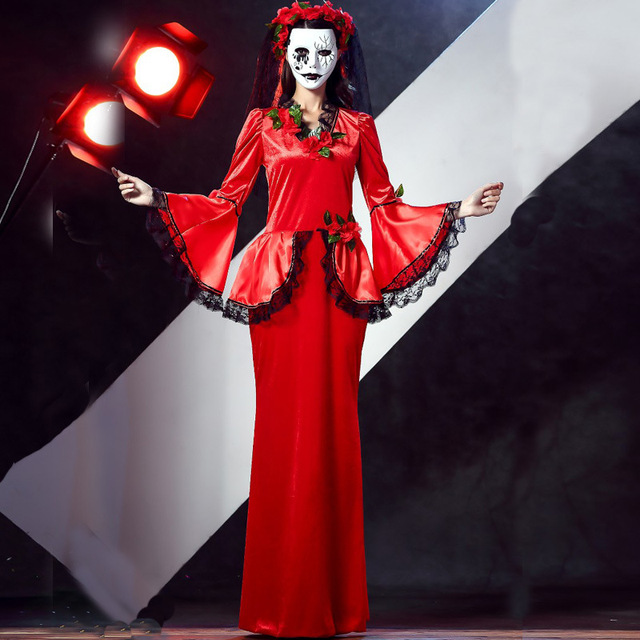 587611f72299 Hot Sexy Halloween Vampire Cosplay Costumes Sets Red Dress Ghost Bride  Costume For Adult Women Scary Party Wear