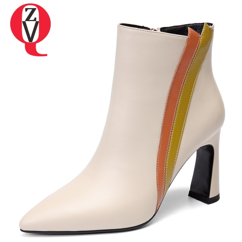 ZVQ winter new fashion high quality mixed colors genuine leather women shoes super high square heel zip pointed toe ankle boots наушники perfeo ipod фиолетовый pf ipd prp