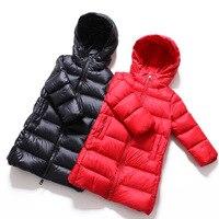Куртка высокого качества, новое зимнее детское ветрозащитное пальто красного и черного цвета, детская одежда для мальчиков и девочек, пухов