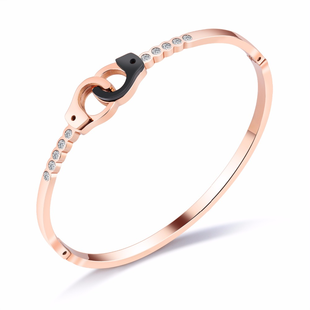 Simple Stainless Steel Double Cube Shaped Woman Cuff Bangle Rose Gold Color Party Jewelry Classical Open Bracelet Gift Bangles