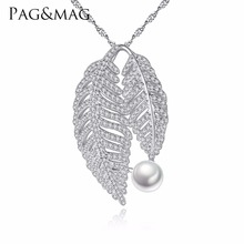 PAG&MAG Brand 925 Sterling Silver 7-7.5mm Natural Freshwater Pearl Leaf Shape Necklaces & Pendants For Woman Party Gifts