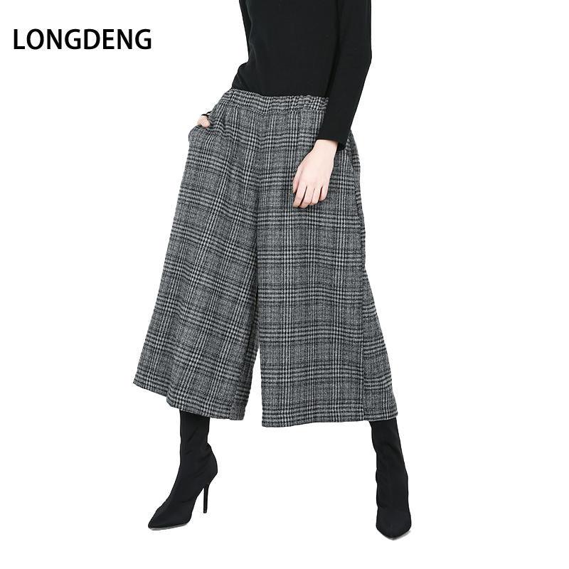 LONGDENG Fashion New Autumn Wide Leg Pants Women Loose High Waist Pocket Trousers Women 2019 Plaid Calf-Length Pants Plus Size