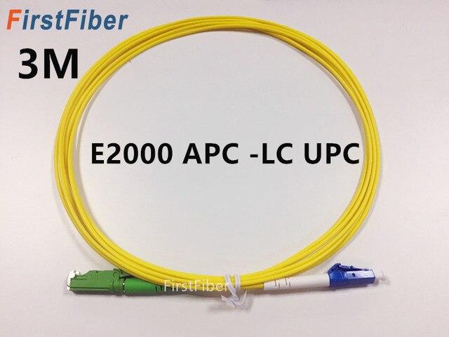 3m E2000 APC to LC UPC Fiber Patch Cable, Fiber Patch Cord Fiber Jumper G657A, Simplex 2.0mm Fiber Cable SM