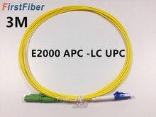 Cable de conexión de fibra 3 m E2000 APC a LC UPC, puente de fibra de Cable de conexión de fibra G657A, simple 2,0mm Cable de fibra de SM