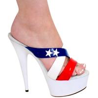6 Inch Woman Platform High Heel American Flag High Heels 15cm Stiletto With White Star Slippers