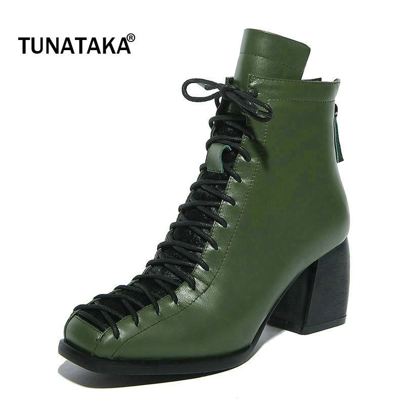 Shoes Woman Genuine Leather Cross Tied Platform Martin boots Comfort Thick Heel Square Toe Dress Winter Ankle Boots Black Green humtto women s leather outdoor hiking trekking sneakers shoes for women purple sports climbing mountain shoes woman sneaker
