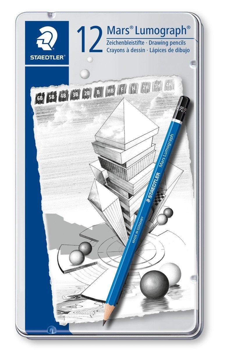 Staedtler Mars Lumograph Hard Lead Drafting Art Pencils New 12 Piece Assorted