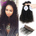 Mongolian Kinky Curly Hair With Closure 3/4 Bundles Afro Kinky Curly With Frontal 8A Virgin Unprocessed Human Hair With Closure