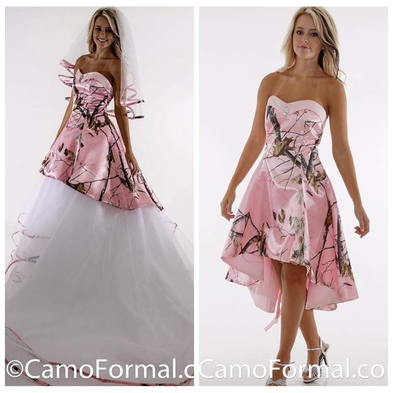 2019 Sweetheart White Camo Top A-line Wedding Dress Camouflage Tull Skirt Bridal Gowns Lace Up Back Wedding Dresses